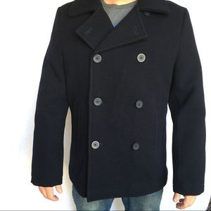 LL Bean Men's Double Breasted Peacoat 100% Wool
